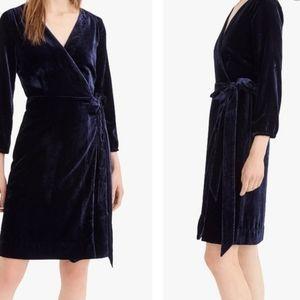 J Crew Black Velvet wrap dress Sz 2